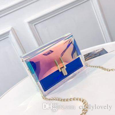 Women Plastic Messenger Handbag Transparent Laser Handbag Clutch Shoulder Crossbody Bag Chain Bag Clear Bag Evening Purse