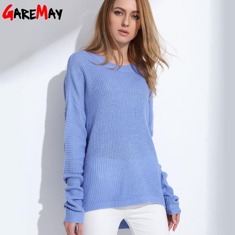 Рубашка свитер джемпер женщин весной свитер оверсайз с длинным рукавом женщины свитер синий свитер женский пуловер GAREMAY S18100803