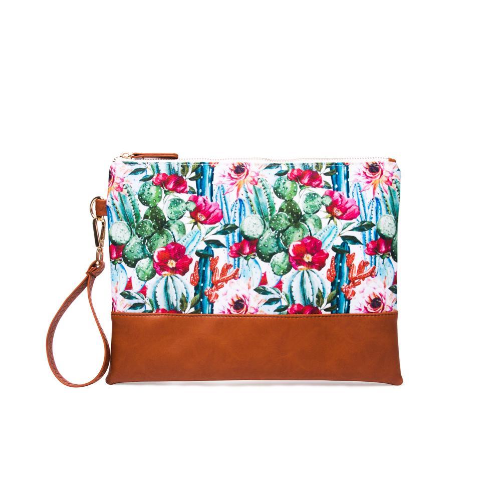 24.5cm*15cm Cactus Flower Clutch Wholesale Blanks Canvas Cactus Print Wristlet Purse Patchwork Pounch Cosmetic Bag DOM1045