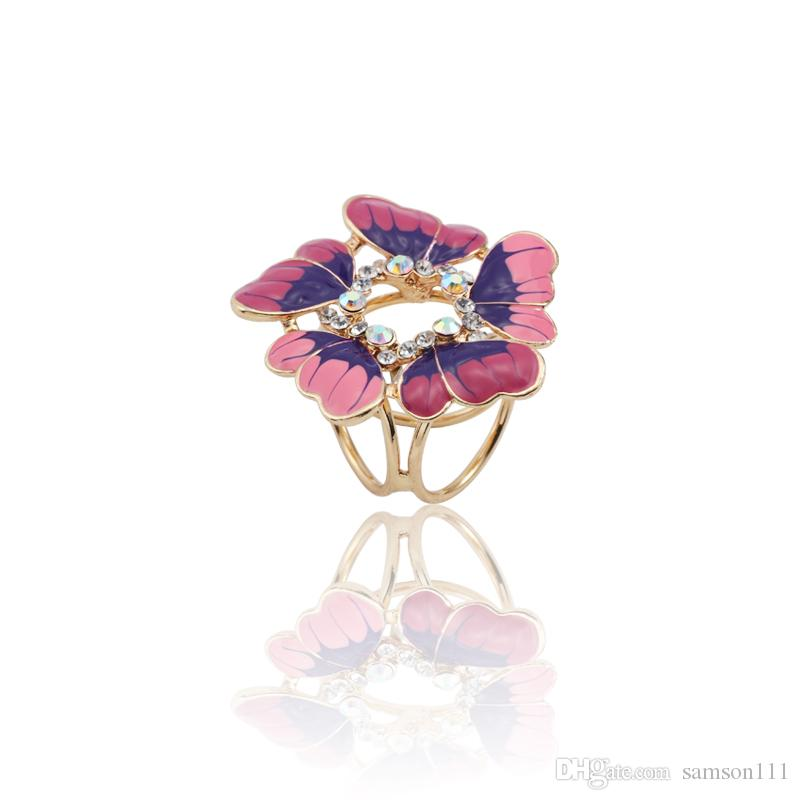 Fashion Luxury Gold Rhinestone Enamel Butterfly Brooch Scarf Buckle Exquisite Bouquet Flower Pins And Brooches Jewelry Broches
