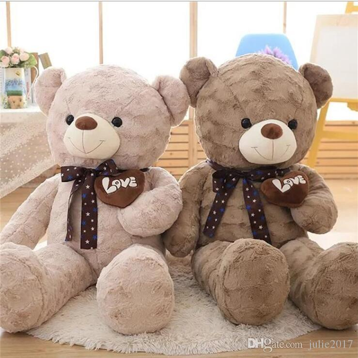 Large size Lovely plush toy stuffed doll heart soft warm bear scarf ted love teddy lover baby birthday gift children Christmas present