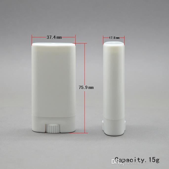 1000 unids 15 g de plástico vacío diy tubos bálsamo labial oval contenedores de desodorante portátil claro lápiz labial blanco moda tubos de labios frescos lin3244