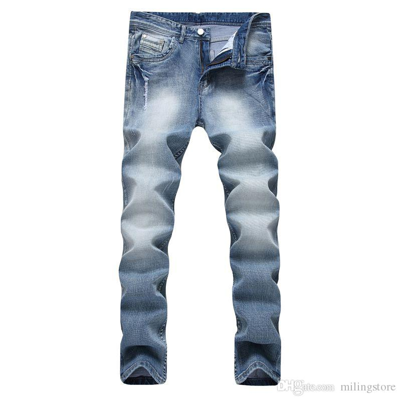 Hombres Jeans Classic Plus Size Brand Brand Mens Jeans elásticos rectos Hombres Slim Skinny Stretch Jeans para hombre Azul claro