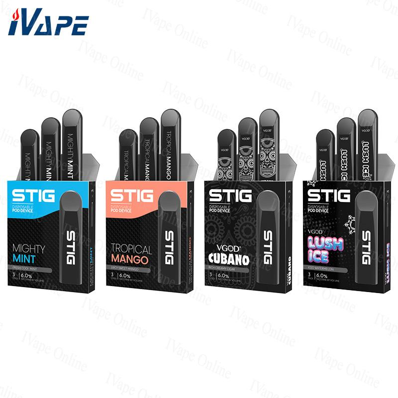 Authentic VGOD Stig Disposable Pod Device 270mAh Battery 1 2ml Cartridge  Vape Pen Kit Best For MTL Disposable E Cigarette Brands E Cigarette