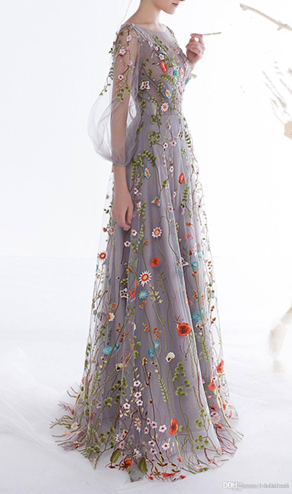 2018 New Women's Long Sleeves Prom Dresses Trendy Floral Embroidery A-line Evening Dresses Formal Party Gowns Pageant Dress Vestios De Novia