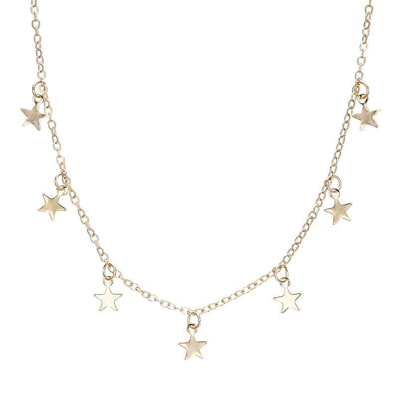X36 boho star moon multi слой кулон ожерелье для женщин 2018 Богемский цветок ожерелья винтажный модный воротник костюм ювелирные изделия