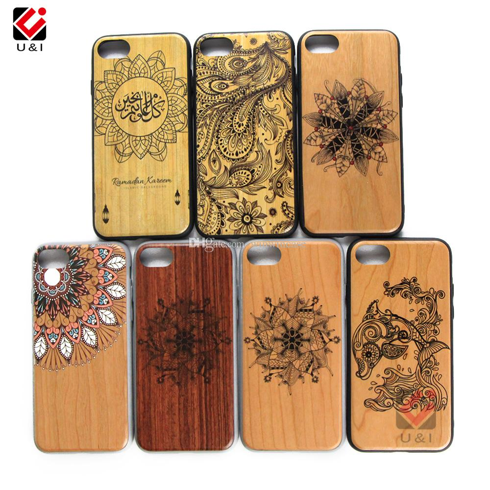 Hot Sale Bulk Wood Cell Phone Case For iPhone 7plus 8plus 7 8 plus Laser Engrave Design Bamboo Wooden Cover