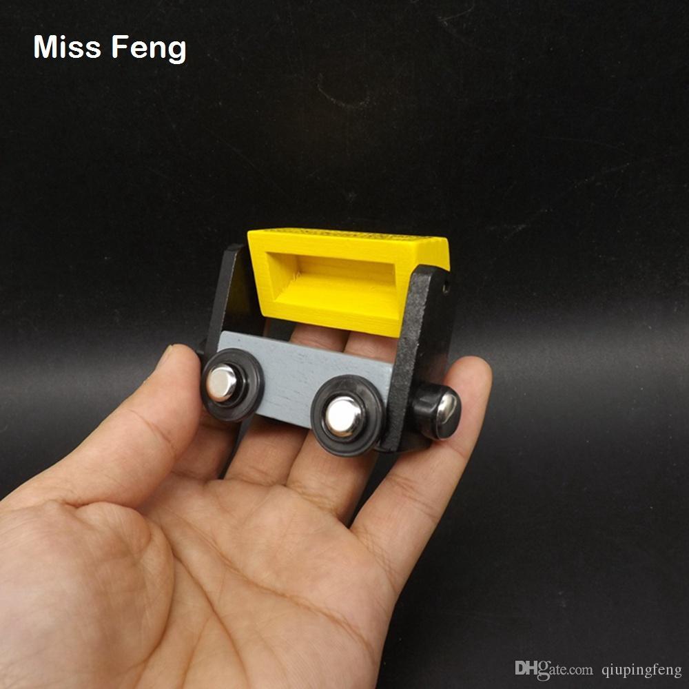 Madera amarilla pequeño tren contenedor juguete niños juego educativo regalo aprendizaje temprano juguete educativo madera juego regalo
