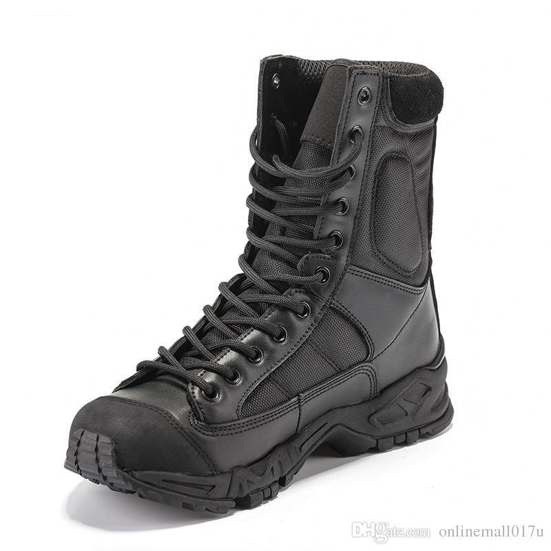الجيش أحذية الرجال السود جلدية الصحراء القتالية العمل أحذية الشتاء رجل الكاحل التمهيد التكتيكية الرجل زائد الحجم
