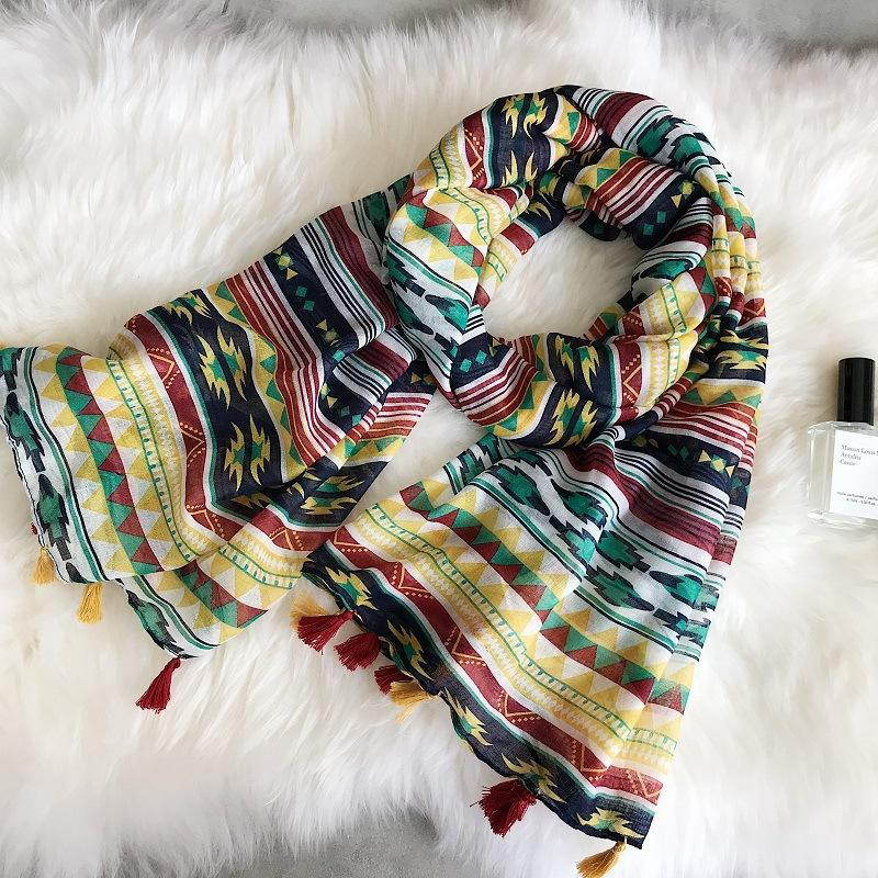 Summer Vacation Sunscreen Scarf Bohemia Cotton and Linen Tourism Seaside Beach Towel Multifunction Print Tassel Floral Large Shawl Women