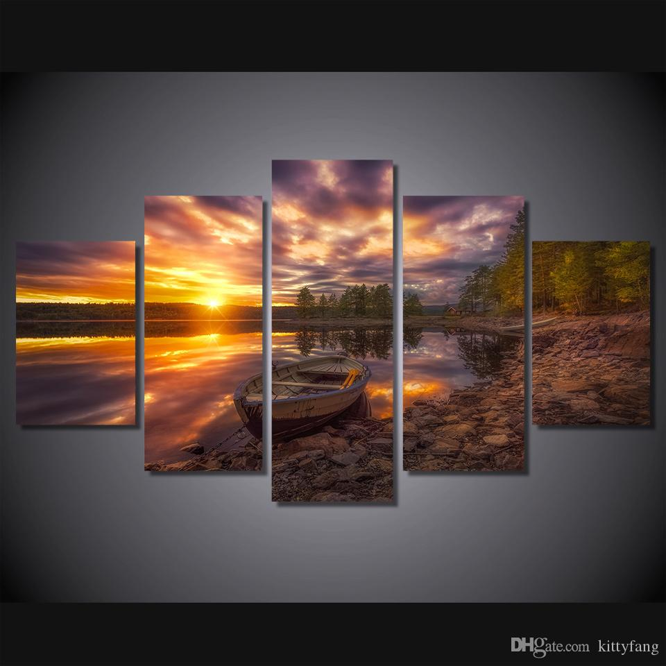 5 Pcs HD Prints ringerike lake Pictures Home Wall Art Decor Paintings Living Room Movie Canvas Poster Framework