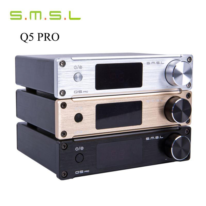 Freeshipping SMSL Q5 Pro 45W*2 HiFi 2.0 Pure Mini Home Digital Audio Power Amplifier 24bit/96kHz USB DAC/Optical/Coaxial With Remote Control