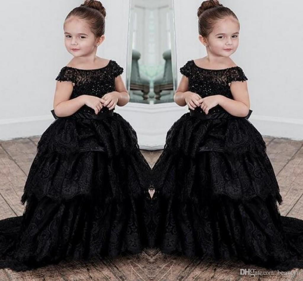 effe0ce16d 2018 Black Lace Flower Girl Dresses For Weddings Off the Shoulder Tiered  Skirt Beading Long Floor Length Pageant Dress Kids Prom Ball Gown