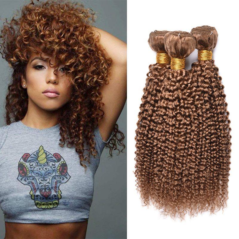 Blonde di miele brasiliana riccio crespo dei capelli umani 3 pacchi colorati brasiliani 27 # Biondo ricci capelli umani del Virgin del tessuto estensioni