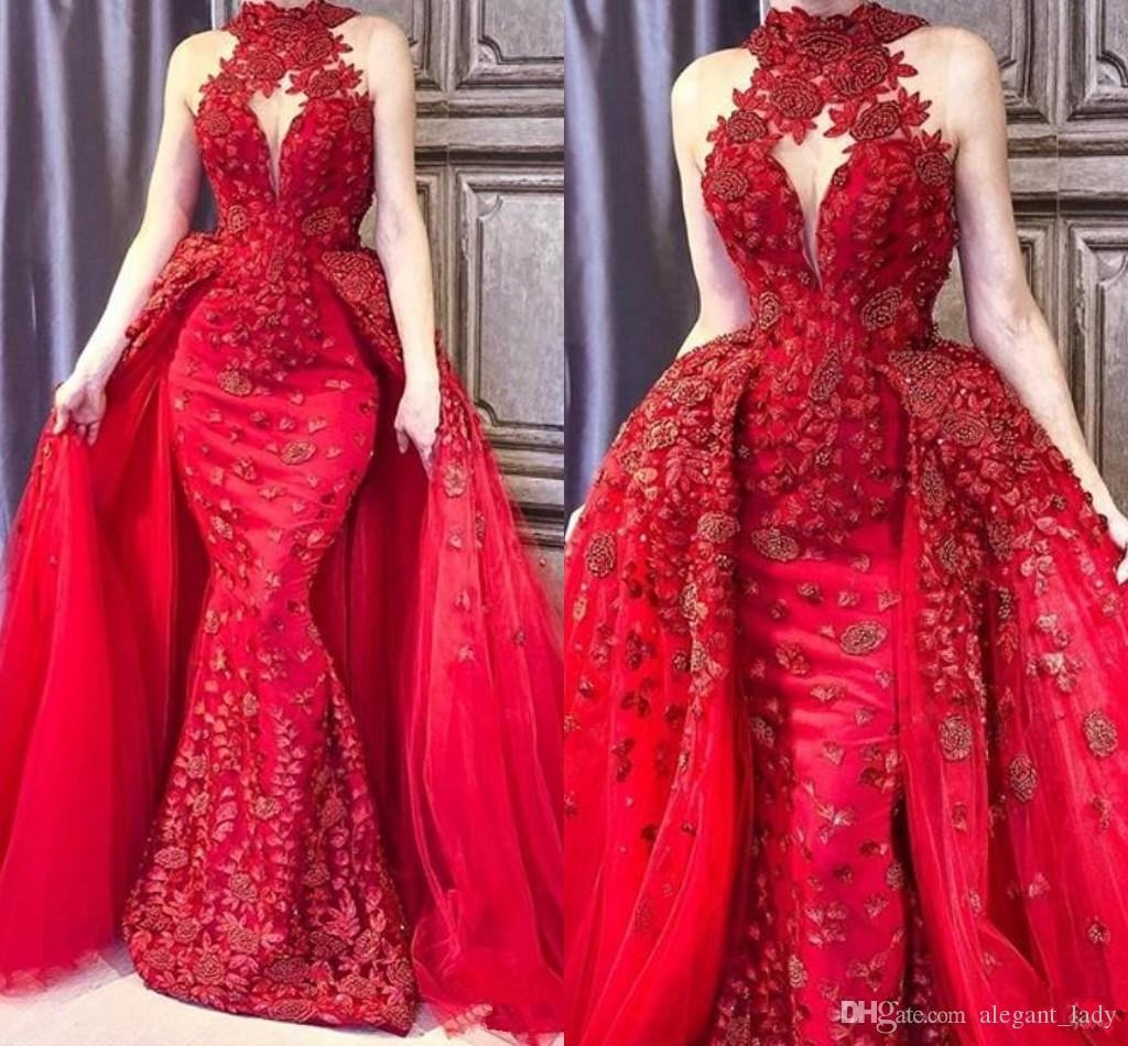 Glamorous Mermaid 2018 Prom Dress With Overskirt Collo alto Perline Applique in pizzo Abiti da sera senza maniche Elegante Arabia Dubai Prom Dress