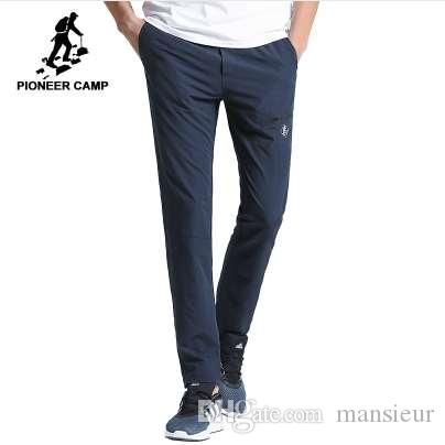 Pioneer Camp New vêtements pantalons décontractés séchage rapide des hommes solides pantalon droit qualité mâle extensible AXX701160