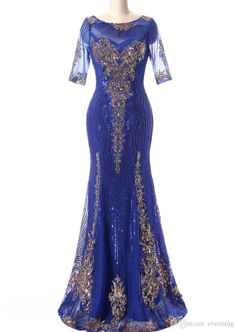 Mermaid Long Evening Dresses With Paillettes Royal Blue Gold Paillettes Abito da sera formale Prom Kaftan Dubai
