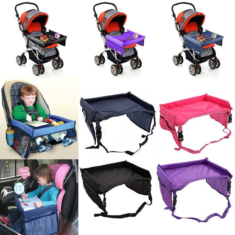 Tabla más nueva de los niños del bebé del cinturón de seguridad del coche Travel Tray impermeable mesa plegable para niños Kids Car Seat Cover Snack Snack Desk HWX9-170