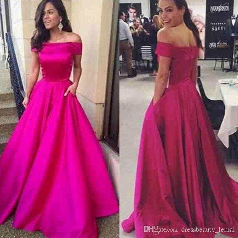 Vestidos de formatura fora do ombro cetim longo Vestidos formais com bolso Ruched A linha Celebrity Prom Party vestidos feitos sob encomenda