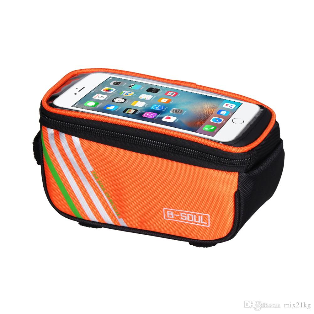 Bicycle Bags Cycling Waterproof Touch Screen MTB Frame Front Tube Storage Mountain Bike Bag for 5.0 inch Mobile Phone