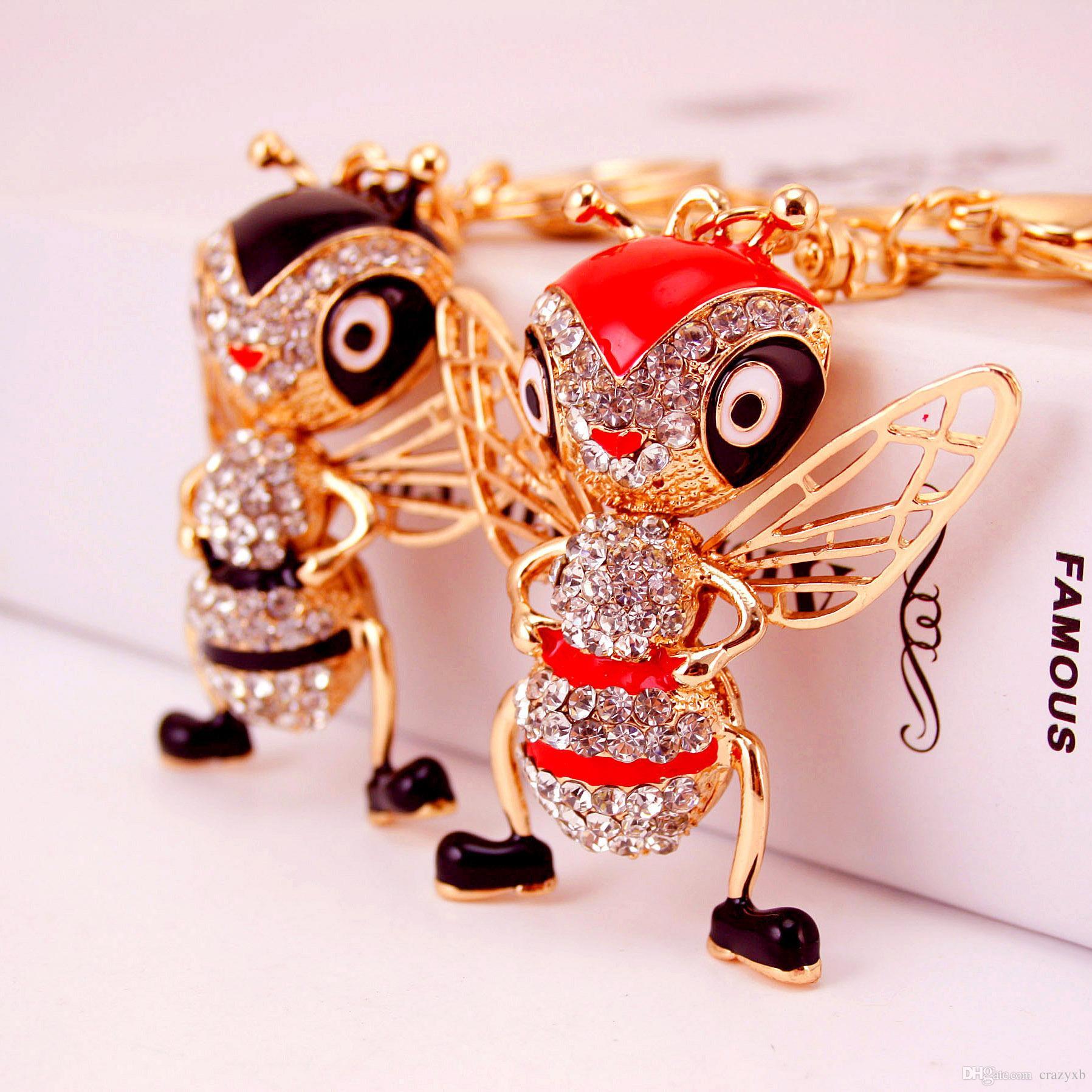 Enamel Alloy Jungle Animal Key Chain Bee Key Ring for Women Bag Handbag Charm Jewelry Keychain Car Key Holder