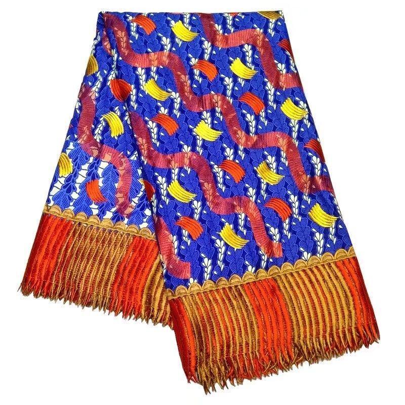 6YARDS / PC Top Vente Orange African Eau Tissu Soluble Broderie et fond Bleu Dentelle en coton imprimé pour robe LBL42-2