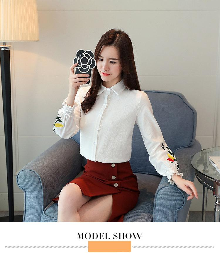 Women\`s Autumn Embroidery Tops 2019 Casual Long Sleeve Female Blouses Work Wear Corduroy Shirts Elegant Office Blusa Mujer Camisas (8)