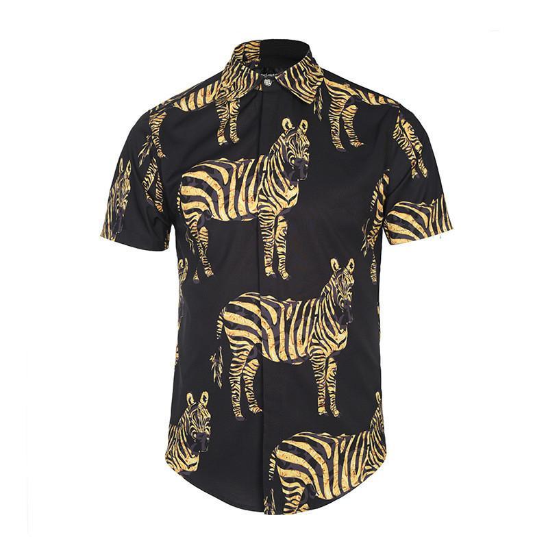 H. A. Sueno новый 3D зебра печати мужская рубашка мода уличная одежда с коротким рукавом рубашки для мужчин негабаритных смешные повседневная мужская одежда / 7