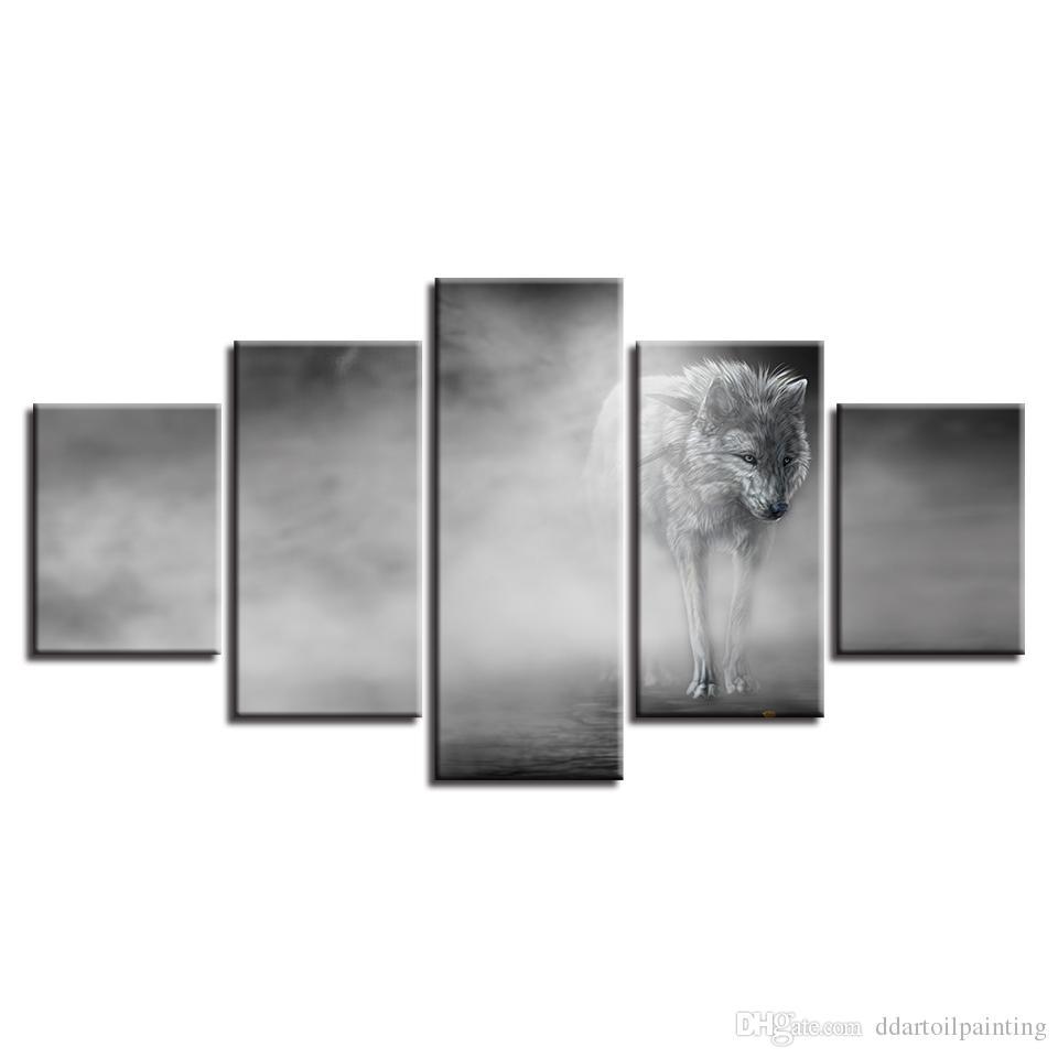 Bureau Noir Et Blanc acheter no frame 5 panles noir et blanc loup animal spray peinture À  l'huile giclee toile impressions peinture pour bureau décoration de la  maison de