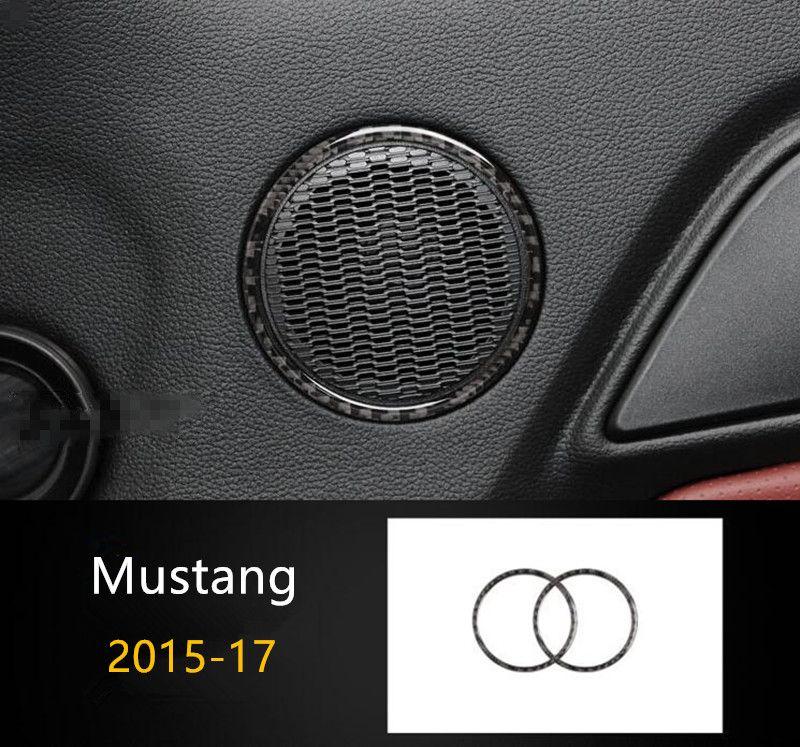 En fibre de carbone de porte de voiture audio Haut-parleur Anneau Décoration d'intérieur 2pcs pour Ford Mustang 2015-17 Car Styling Stereo Cover Version