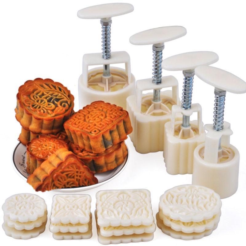 50 جرام و 100 جرام القمر كعكة العفن باليد الضغط جولة و مربع ديي أدوات كعكة الكوكيز الكوكيز المفرقعات الجافة 16 أجزاء / أدوات المطبخ