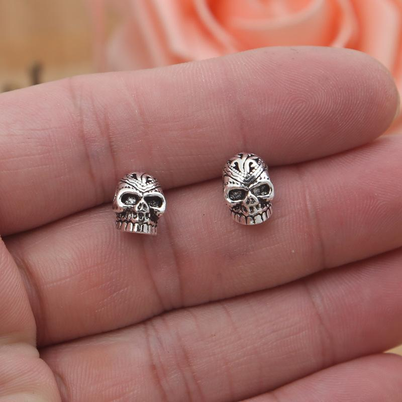 2018 new 925 sterling silver vintage American style jewelry antique silver hand-made designer skull stud earrings mens womens