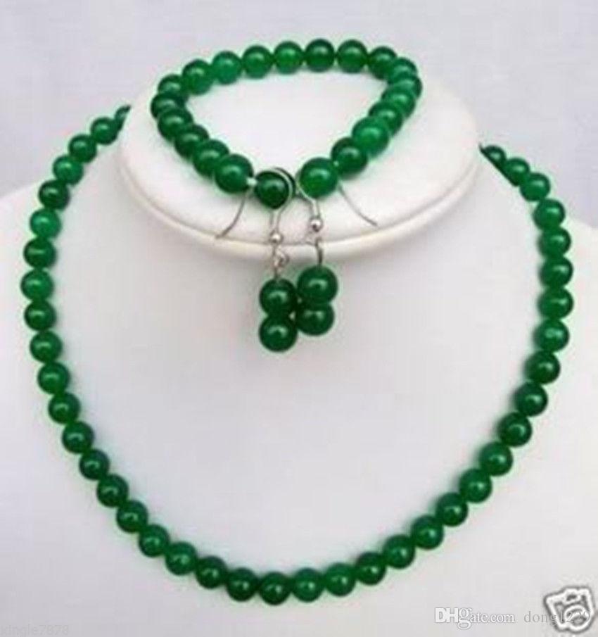 Collana di perle di giada verde naturale 8MM. Set di bracciali