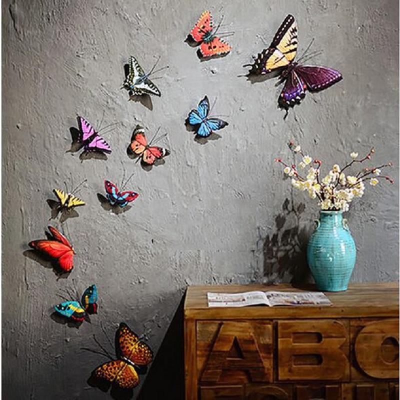 Blue Metallic Butterfly Garden Wall Ornament Metal Decoration Plaque