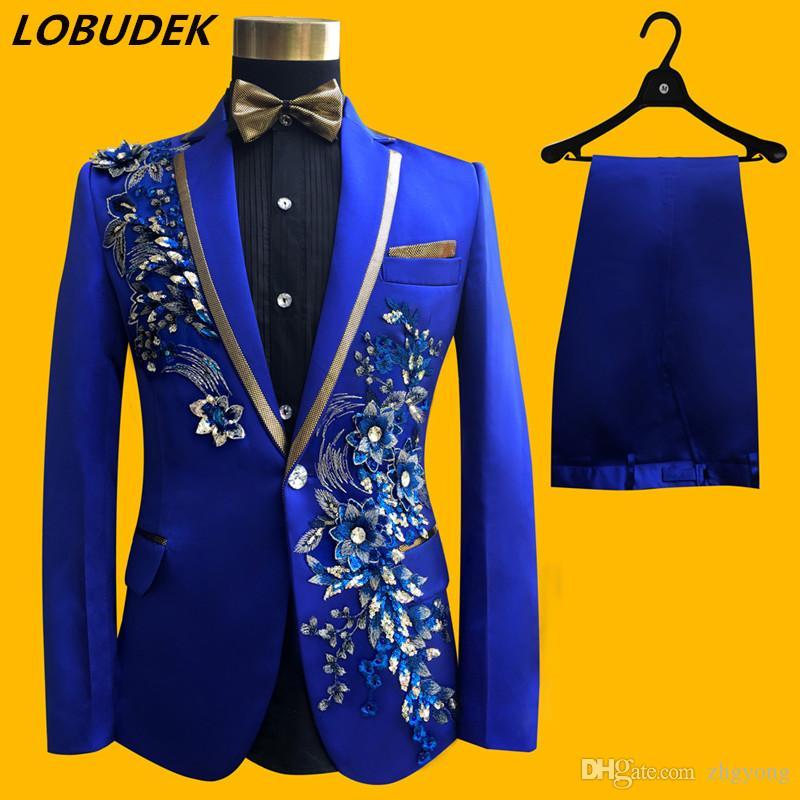 (jacket+pants+tie+belt) male suit groom wedding prom party Sequins red black instrument slim costumes blazers Applique flower formal clothes