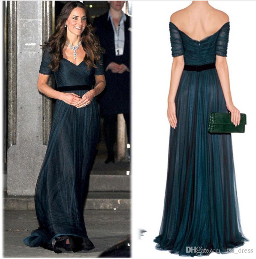 Kate Middleton Une ligne robes de célébrités encre bleu Sweetheart décolleté de l'épaule froncé tulle étage longueur prom avec ceinture Jenny Packham