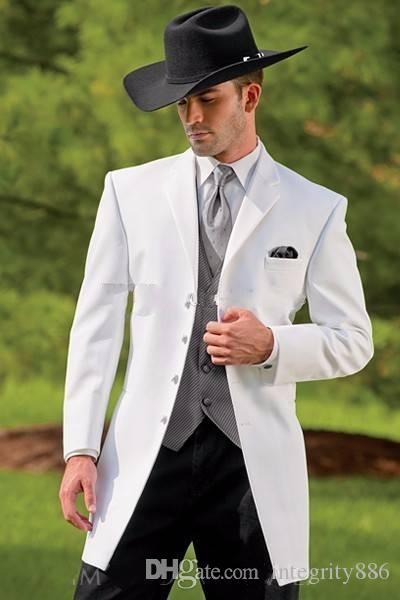 Мода длинный белый вырез отворот четыре кнопки мужчины 3 шт костюм свадебные смокинги жених смокинги мужчины ужин Пром одежда (куртка + брюки + галстук + жилет) 606