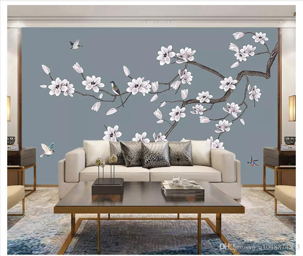 3D 벽화 벽화 사용자 정의 그림 벽화 벽 종이 손으로 그린 목련 새로운 중국 꽃과 새 장식 벽화