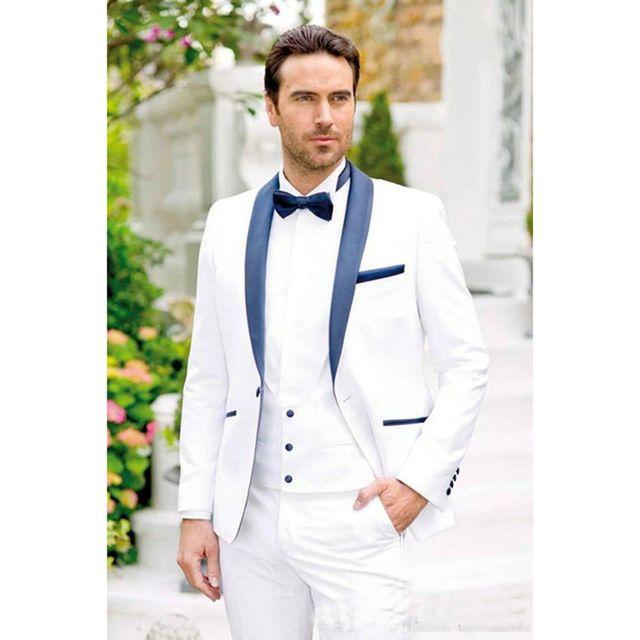 Lacivert ile özel Beyaz Damat Smokin Şal Yaka Erkek Takım Elbise (Ceket + Pantolon) Sağdıç Adam Düğün Balo Damat Suits