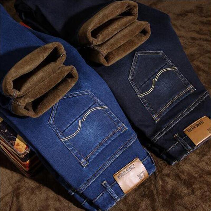 2018 Nova Moda Masculina de Inverno Jeans Slim Fit De Veludo Calças de Brim Quentes Dos Homens Clássicos Grossas Calças de Lã Simples Jeans De Pelúcia Homme! 005