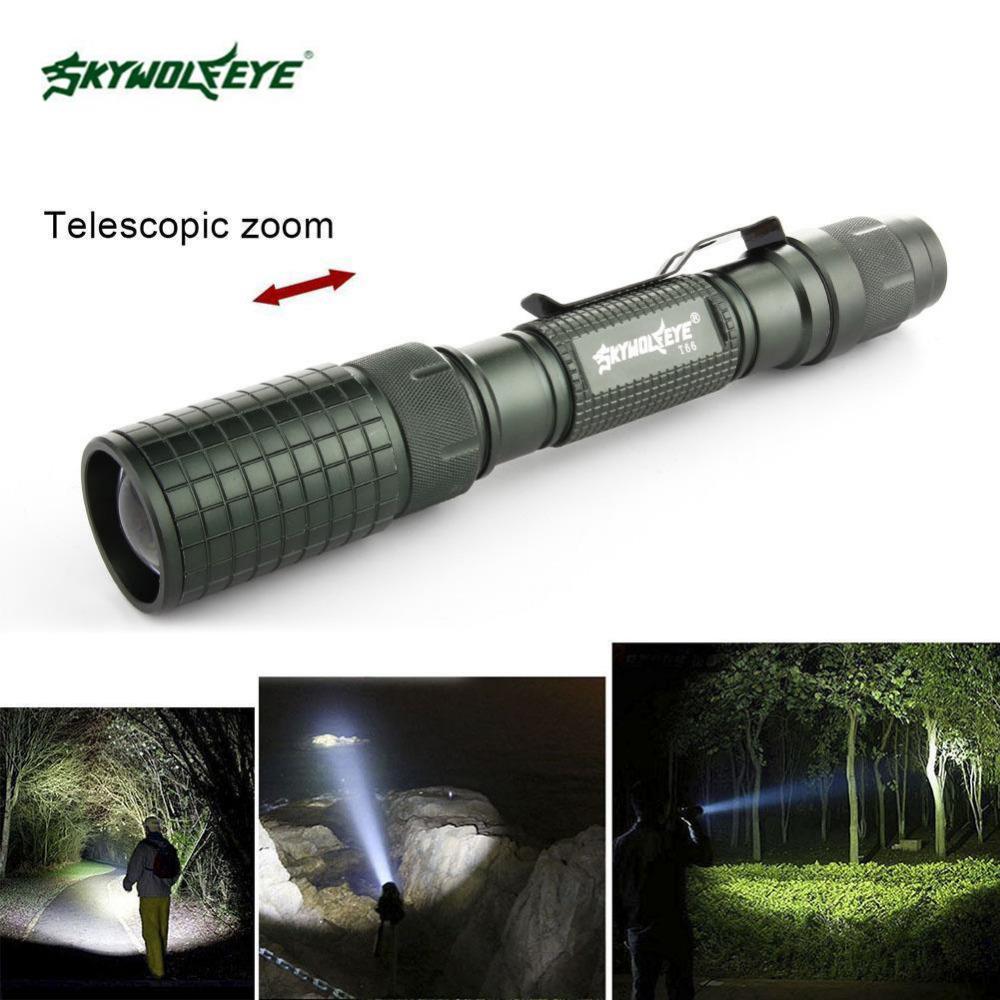 SKYWOLFEYE Lampe de poche à DEL T6 à zoom réglable de 8 000 lumens avec 5 modes Lampe Adjusatbel Focus Lampe de poche Lanterna 2X18650 Batterie