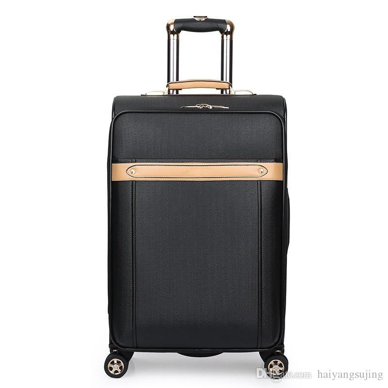 High quanlity PU suitcase luggage women mens travel trolley box suitcases rolling Business computer bag Silent universal wheel Baggage bags