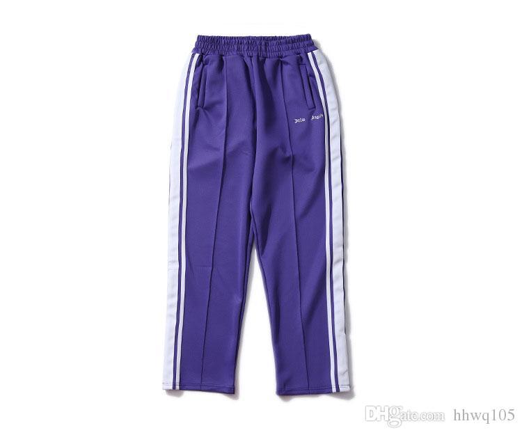 Acheter Palm Angels Pantalons De Survêtement Femmes Hommes Violet Old  School Track Pantalon De Mode Pantalon De Jogging Hip Hop Cheville Sport De