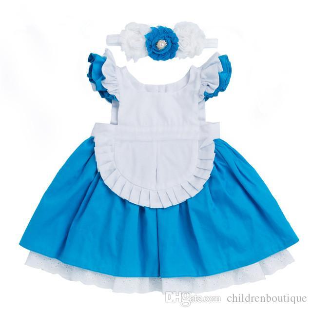 Meninas Vestido 2018 Novo Algodão Crianças Roupas Alice Cinderela Vestido Branco Azul Arco Meninas Do Bebê Cosplay Partido Princesa + Hairband 2 Pcs Roupas