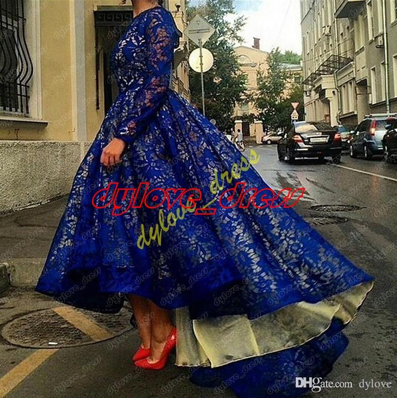 robe longue sexy robe haute sexy taille haute robe de soirée soirée robe de bal manches longues bleu royal robes de bal 2018