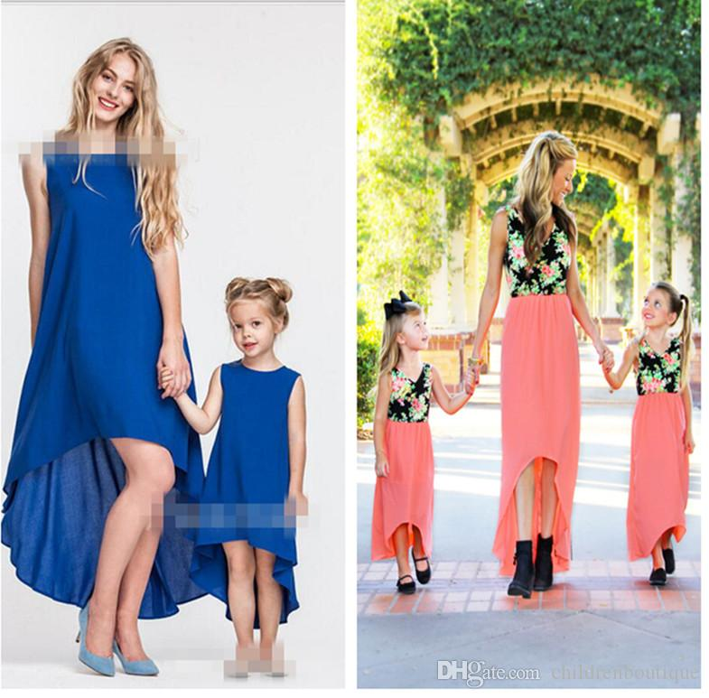 Mommy And Me Family Matching Clothes Mother And Daughter Dresses Family Look Children Patchwor Floral Asymmetrical Cropping Dresses Outfits