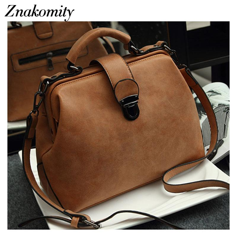 Znakomity Vintage hand bag woman Retro female doctor nubuck leather bag woman Doctor style handbags ladies Shoulder cross bags