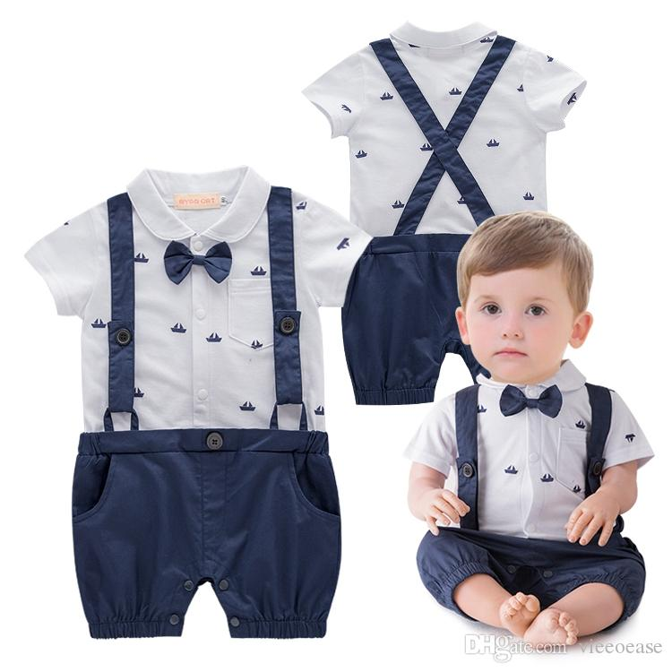 Short Rompers Sleeve Clothes Cute Newborn Jumpsuit Set Gentleman Baby Boys Style