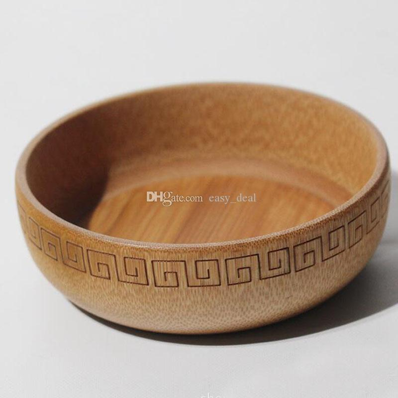 Natural Bamboo Bowl Chinese Soup Rice Noodles Bowls For Kids Lunch Box Kitchen Tableware Food Container QW7323