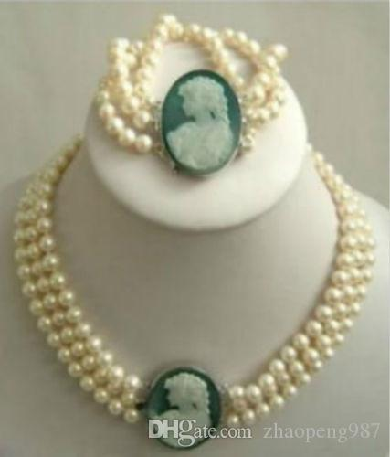 Details über Vintage 7-8mm Weiß Akoya Pearl Königin Cameo Statement Halsband Halskette Armband
